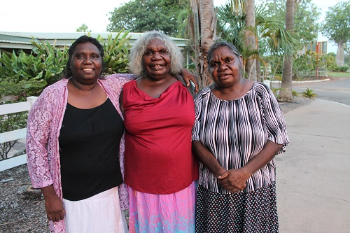 Certificate II Indigenous Leadership Graduates Joanne and Glennis with Miriwoong Elder Agnes before the graduation ceremony