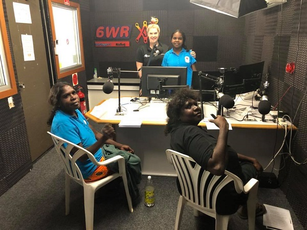 A radio recording session at Waringarri Radio